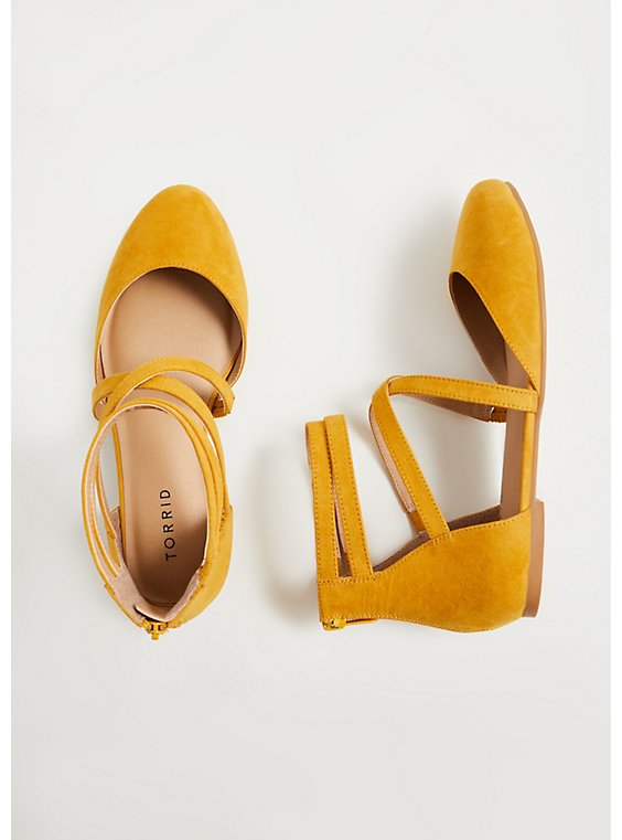 Mustard Yellow Faux Suede Strappy Flat (WW), , hi-res