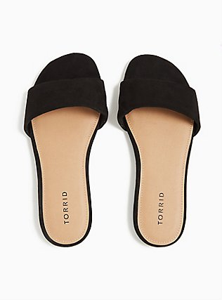 Black Faux Suede Slide (WW), BLACK, alternate
