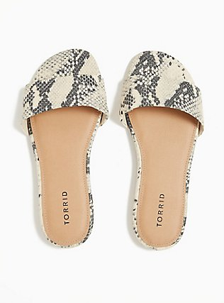 Snakeskin Print Faux Leather Slide (WW), ANIMAL, alternate
