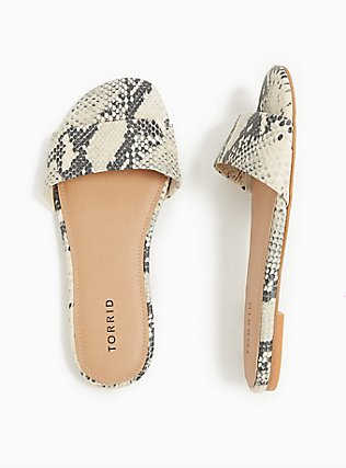 Snakeskin Print Faux Leather Slide (WW), ANIMAL, hi-res