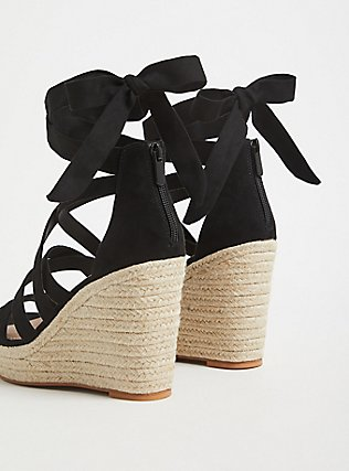 Black Faux Suede Self-Tie Espadrille Wedge (WW), BLACK, alternate