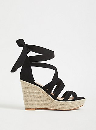 Black Faux Suede Self-Tie Espadrille Wedge (WW), BLACK, hi-res