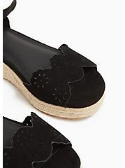Plus Size Black Faux Suede Scallop Espadrille Flatform (WW), BLACK, alternate