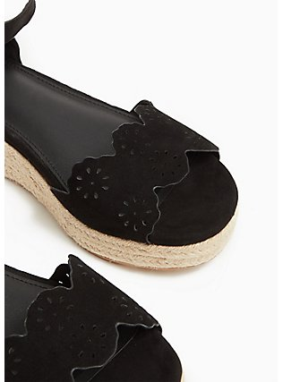 Black Faux Suede Scallop Espadrille Flatform (WW), BLACK, alternate