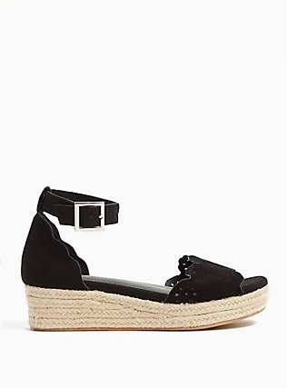 Black Faux Suede Perforated Espadrille Platform (WW), BLACK, hi-res
