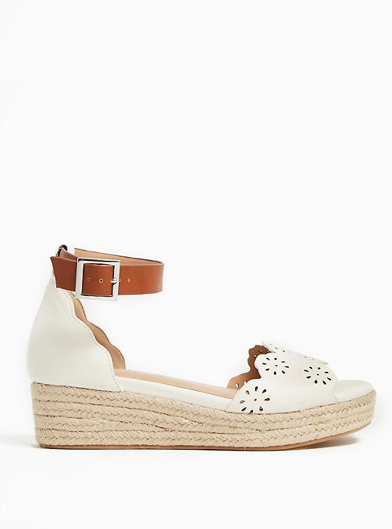 Plus Size White Faux Leather Scallop Espadrille Flatform (WW), , hi-res