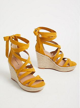 Mustard Yellow Faux Suede Self-Tie Espadrille Wedge (WW), YELLOW, alternate