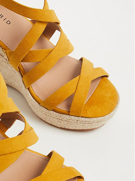 Mustard Yellow Faux Suede Ankle Wrap Espadrille Wedge (WW), YELLOW, alternate