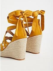 Plus Size Mustard Yellow Faux Suede Ankle Wrap Espadrille Wedge (WW), YELLOW, alternate