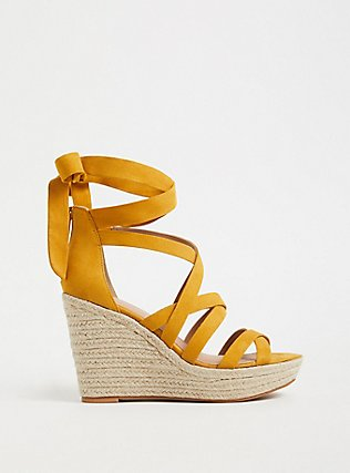 Mustard Yellow Faux Suede Ankle Wrap Espadrille Wedge (WW), YELLOW, hi-res