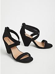 Black Faux Suede Braided Strap Cone Heel (WW) , BLACK, alternate