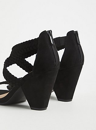 Black Faux Suede Braided Strap Cone Heel (WW) , BLACK, alternate