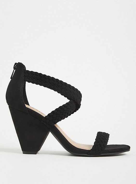 Plus Size Black Faux Suede Braided Strap Cone Heel (WW) , , hi-res
