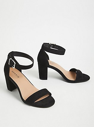 Black Faux Suede Ankle Strap Tapered Heel (WW), BLACK, alternate