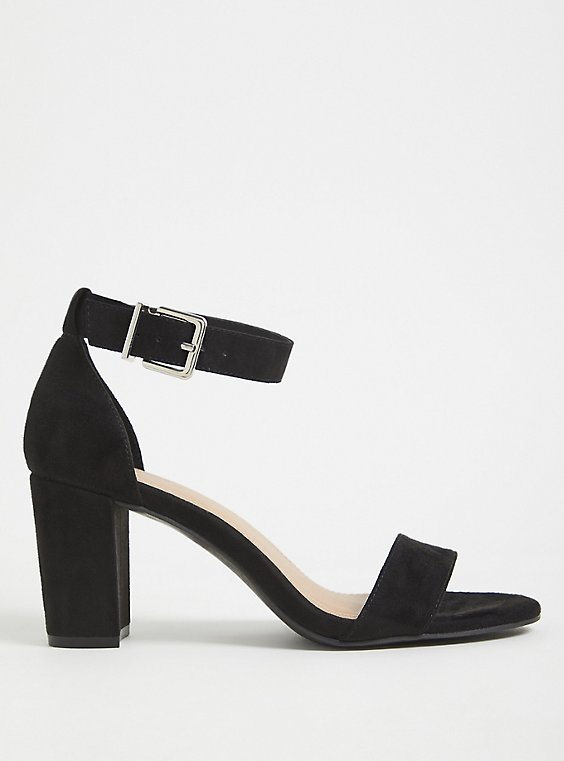 Plus Size Black Faux Suede Ankle Strap Tapered Heel (WW), , hi-res