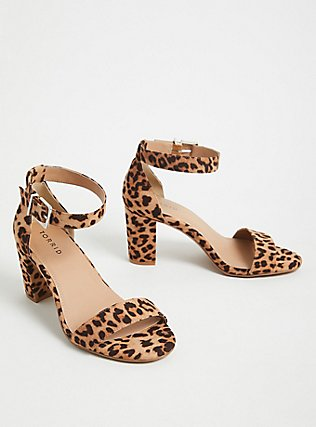 Leopard Faux Suede Ankle Strap Tapered Heel (WW), ANIMAL, alternate