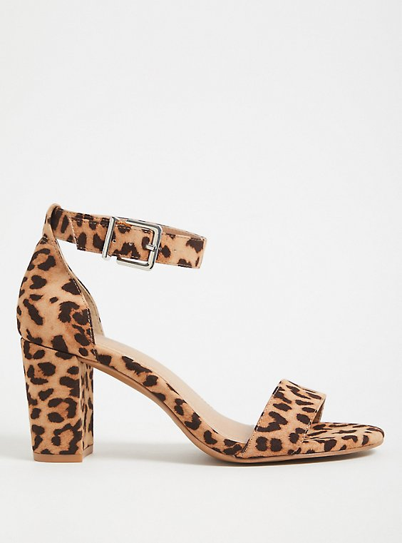 Plus Size Leopard Faux Suede Ankle Strap Tapered Heel (WW), , hi-res