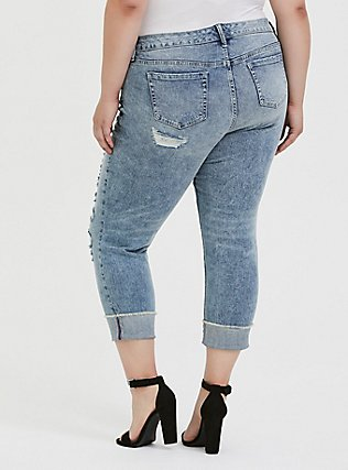 Crop Boyfriend Jean - Vintage Stretch Light Wash, WHATS YOUR DAMAGE, alternate