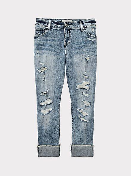 Crop Boyfriend Jean - Vintage Stretch Light Wash, WHATS YOUR DAMAGE, hi-res