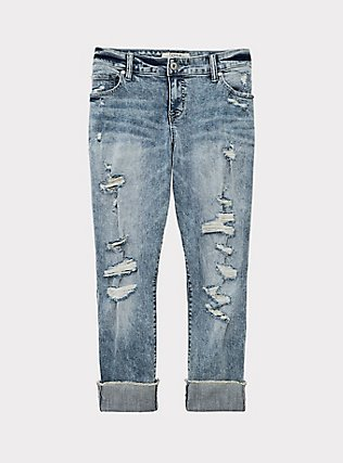 Crop Boyfriend Jean - Vintage Stretch Light Wash, WHATS YOUR DAMAGE, flat
