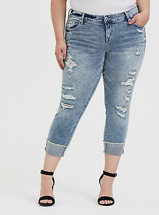 Crop Boyfriend Jean - Vintage Stretch Light Wash, WHATS YOUR DAMAGE, hi-res
