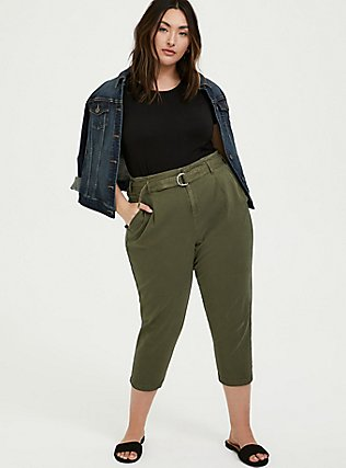 Olive Green Canvas Belted Crop Pant, FALCON, alternate