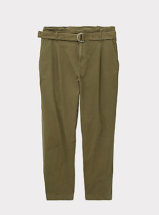 Olive Green Canvas Belted Crop Pant, FALCON, flat