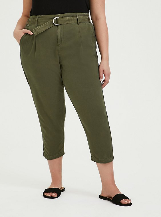 Plus Size Olive Green Canvas Belted Crop Pant, , hi-res