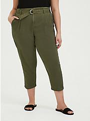 Olive Green Canvas Belted Crop Pant, FALCON, hi-res