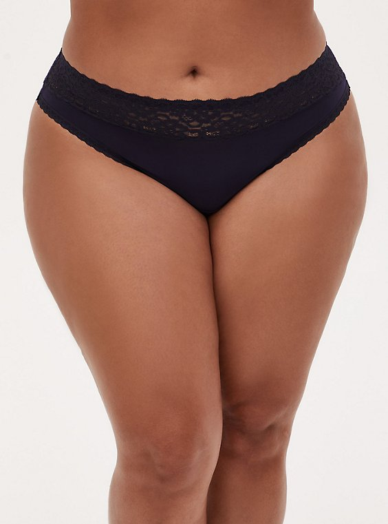 Plus Size Midnight Blue Wide Lace Shine Thong Panty , , hi-res