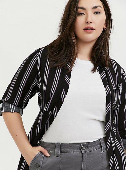 Black Multi Stripe Challis Duster Shirt Kimono, STRIPES, alternate