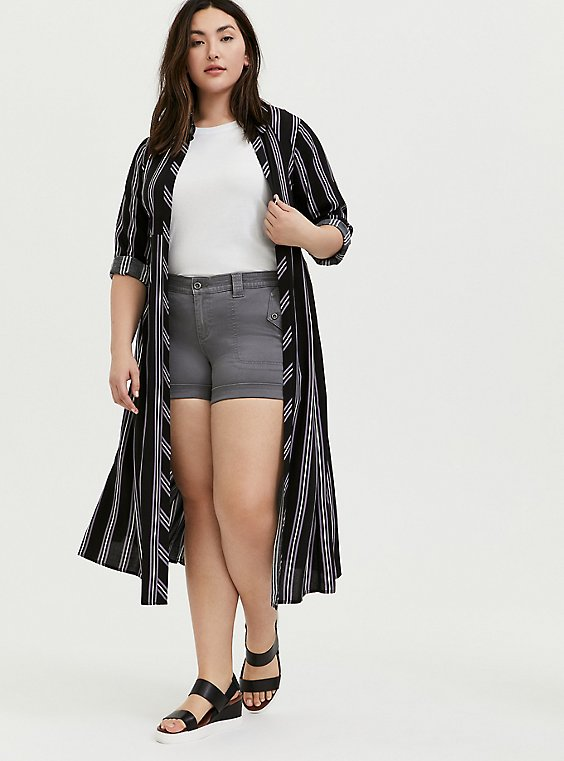 Black Multi Stripe Challis Duster Shirt Kimono, STRIPES, hi-res