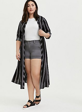 Black Multi Stripe Challis Duster Shirt Kimono, STRIPES, hi-res