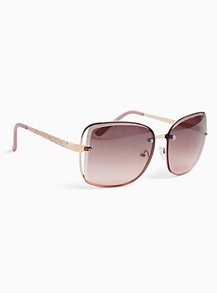 Rose Pink Cutout Sunglasses, , alternate