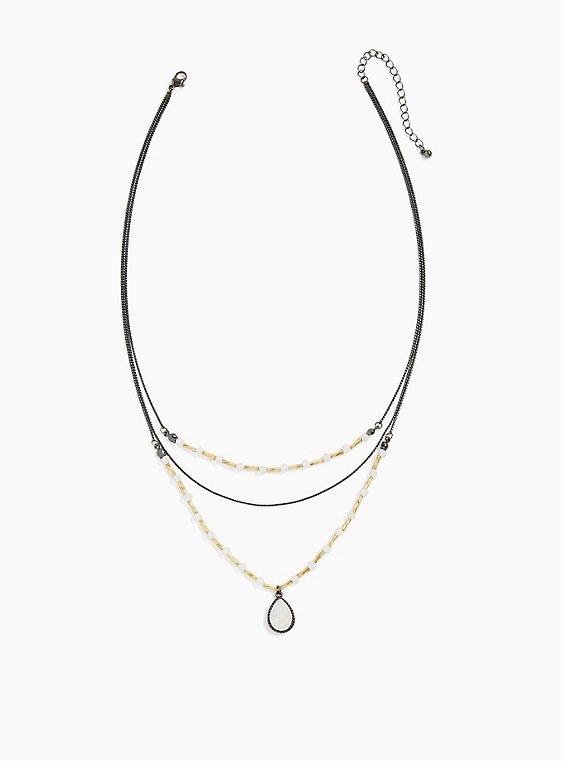 Hematite-Tone Iridescent Teardrop Layered Necklace, , hi-res