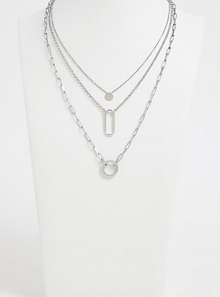 Silver-Tone Geo Charm Layered Necklace, , alternate