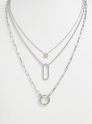 Silver-Tone Geo Charm Layered Necklace, , ls