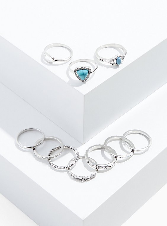 Silver-Tone & Faux Turquoise Ring Set - Set of 10, , hi-res