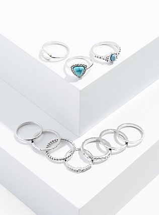 Plus Size Silver-Tone & Faux Turquoise Ring Set - Set of 10, SILVER, hi-res