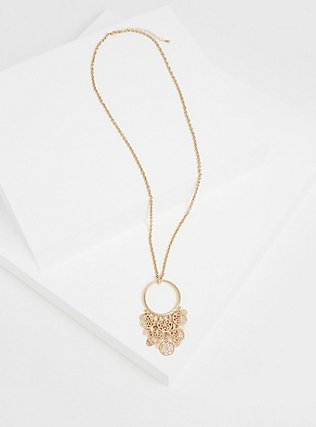 Plus Size Gold-Tone Multi-Coin Drop Pendant Necklace, , hi-res