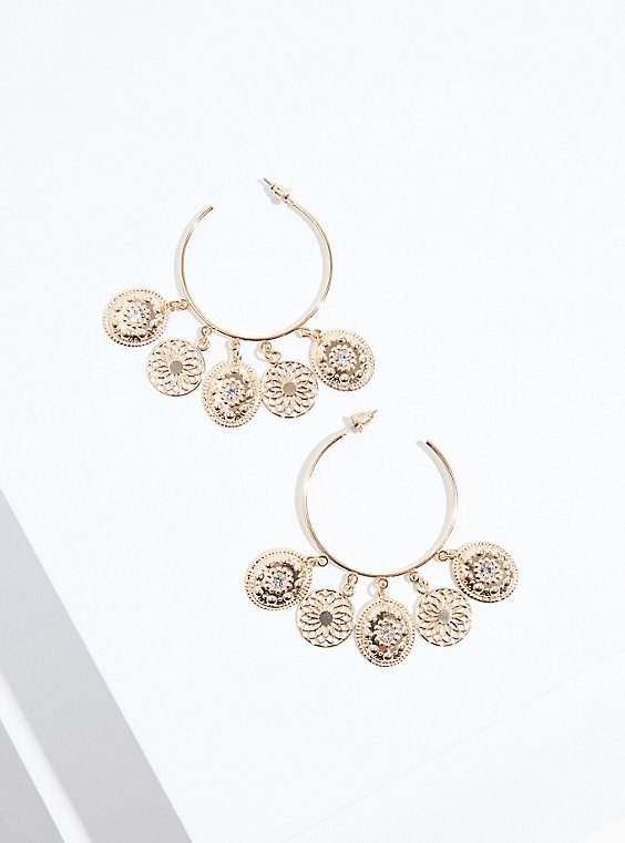 Plus Size Gold-Tone Dangle Hoop Statement Earrings, , hi-res