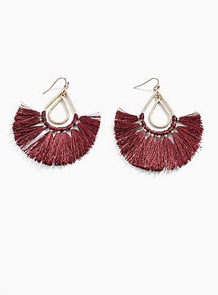 Plus Size Burgundy Purple Fringe Dangle Earrings, , hi-res