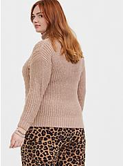 Light Brown Turtleneck Fisherman Sweater, BROWN  LIGHT BROWN, alternate