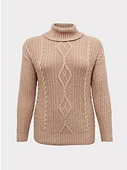 Light Brown Turtleneck Fisherman Sweater, BROWN  LIGHT BROWN, hi-res