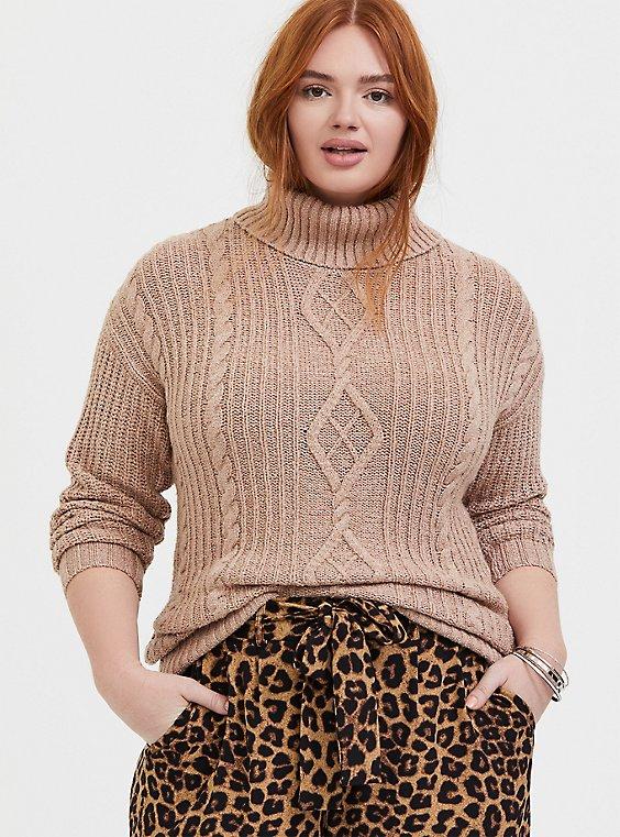 Light Brown Turtleneck Fisherman Sweater, , hi-res