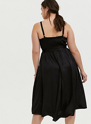 Black Textured Charmeuse Midi Wrap Dress, , alternate