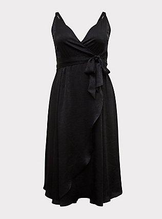 Black Textured Charmeuse Midi Wrap Dress, , flat