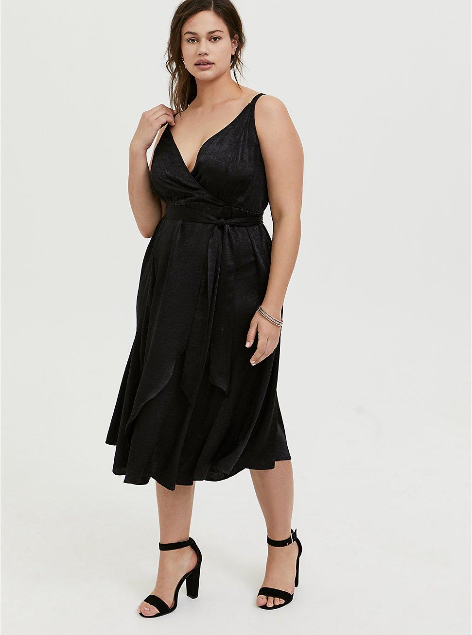 Plus Size Black Textured Charmeuse Midi Wrap Dress, , hi-res