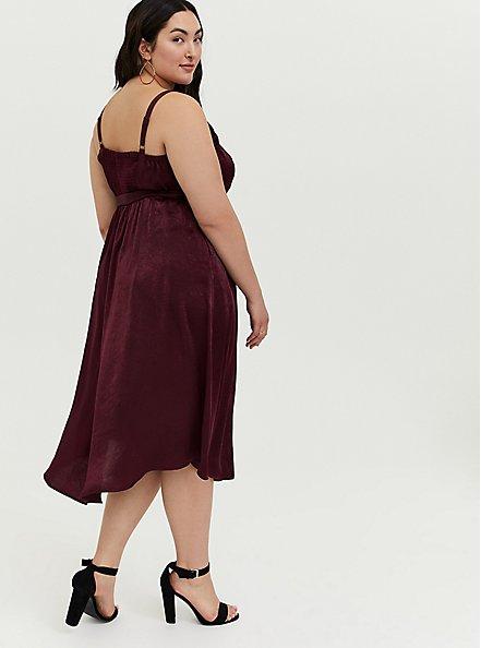 Plus Size Burgundy Purple Textured Charmeuse Midi Wrap Dress, , alternate