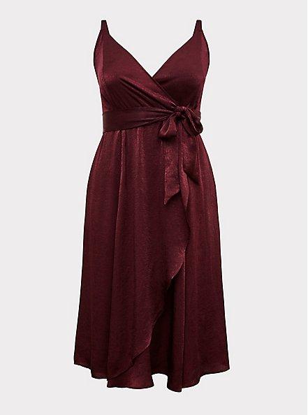 Plus Size Burgundy Purple Textured Charmeuse Midi Wrap Dress, , hi-res